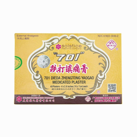 701 Dieda Zhentong Yaogao Medicated Plaster, Solstice Brand (40 parches, 4x2 inches), Traumas, artritis