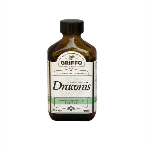 Draconis. Chai Hu Long Wu Mu Li tang (Dragon Bone and Oyster Shell), Tintura (60 ml) Griffo Botanical (Adicción a drogas, alcohol y cigarro).