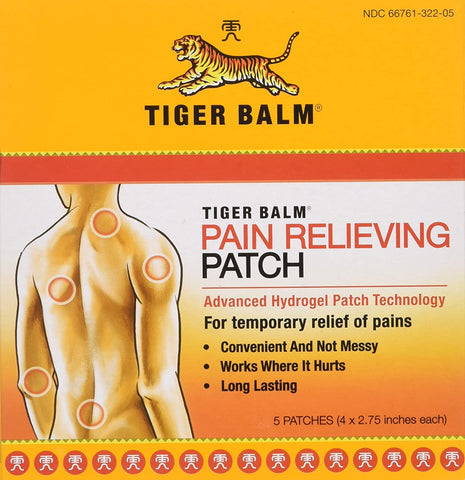 "Tiger Balm Patch, Pain Relieving Patch, 4"" x 2.75"", 5-Count Packages, (Traumas, artritis)"