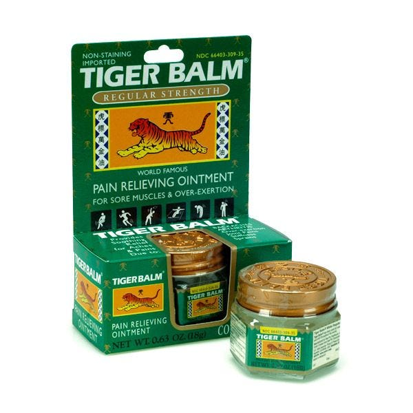 Tiger Balm Regular White, frasco 50 gramos, TIN (1.7OZ) (artritis, dolores)