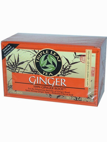 Ginger Herbal Tea, Triple Leaf Tea, Herbal Tea, 20 bolsitas de te.