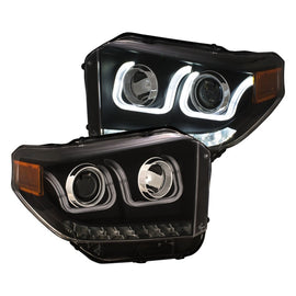 ANZO 14-18 Toyota Tundra w/ LED DRL Projector Headlights w/ U-Bar Switchback Black w/ DRL