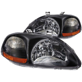 ANZO 1996-1998 Honda Civic Crystal Headlights Black