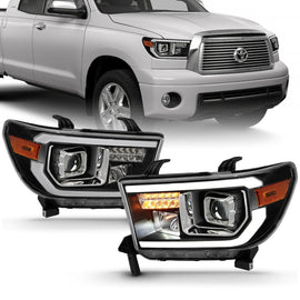 ANZO 2007-2014 Toyota Tundra Projector Light Bar H.L Black Amber(Led High Beam) (Halogen Version)