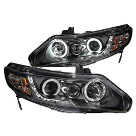 ANZO 2006-2011 Honda Civic Projector Headlights w/ Halo Black (CCFL)