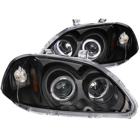 ANZO 1996-1998 Honda Civic Projector Headlights w/ Halo Black