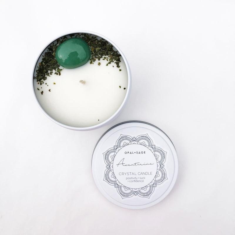 Opal and Sage Mandala Crystal Candles - Aventurine
