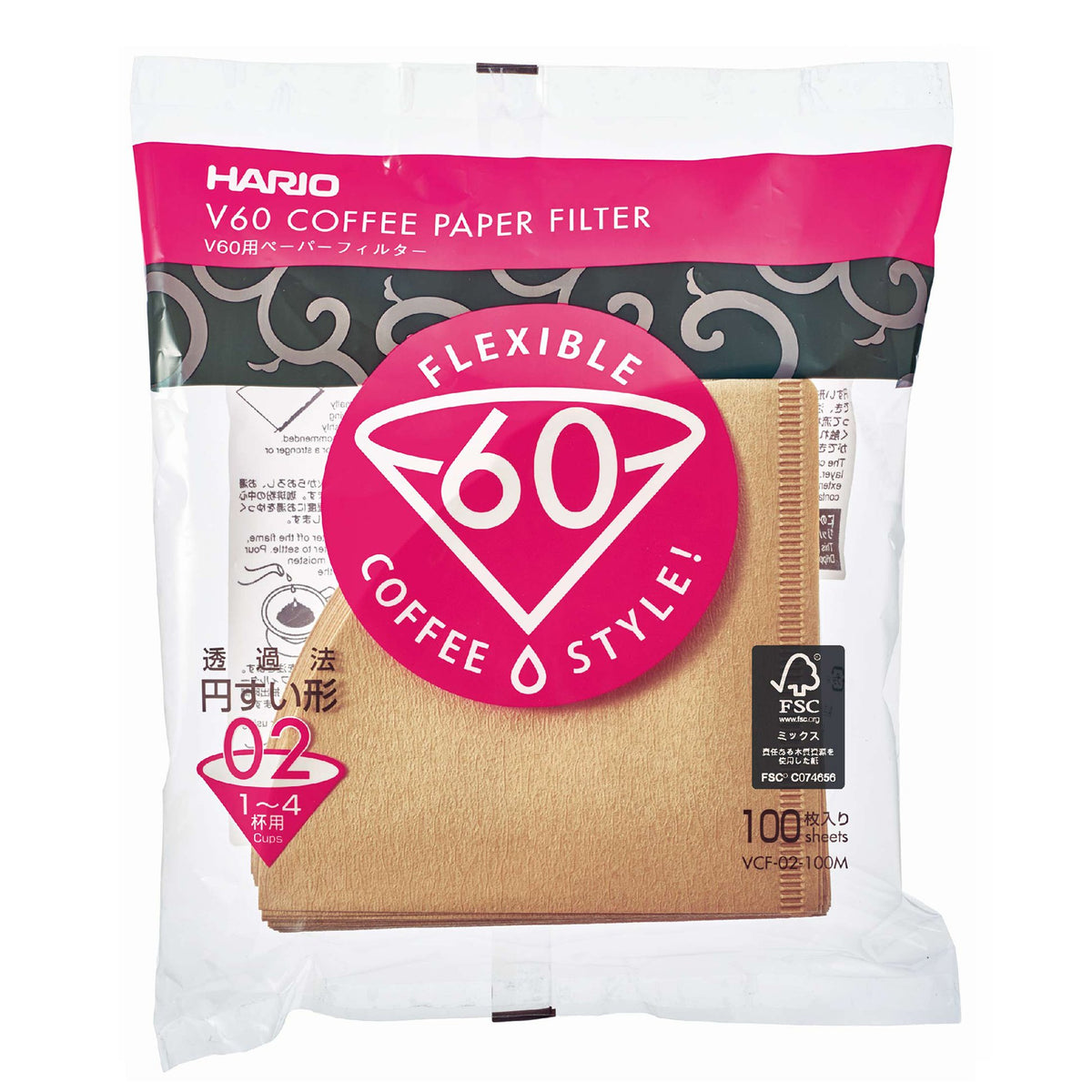 Hario V60 Natural Coffee Filters 100pc