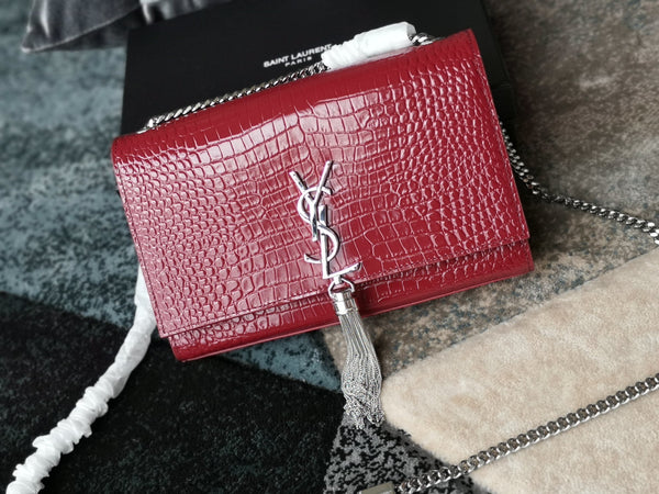 SAINT LAURENT® Kate Crocodile Pattern with Silver Tassels