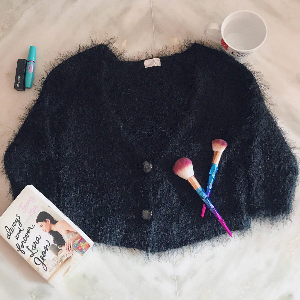 Black Fuzzy Button Front Crop Cardigan - ReThought