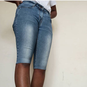Light Wash Skinny Denim Shorts - ReThought