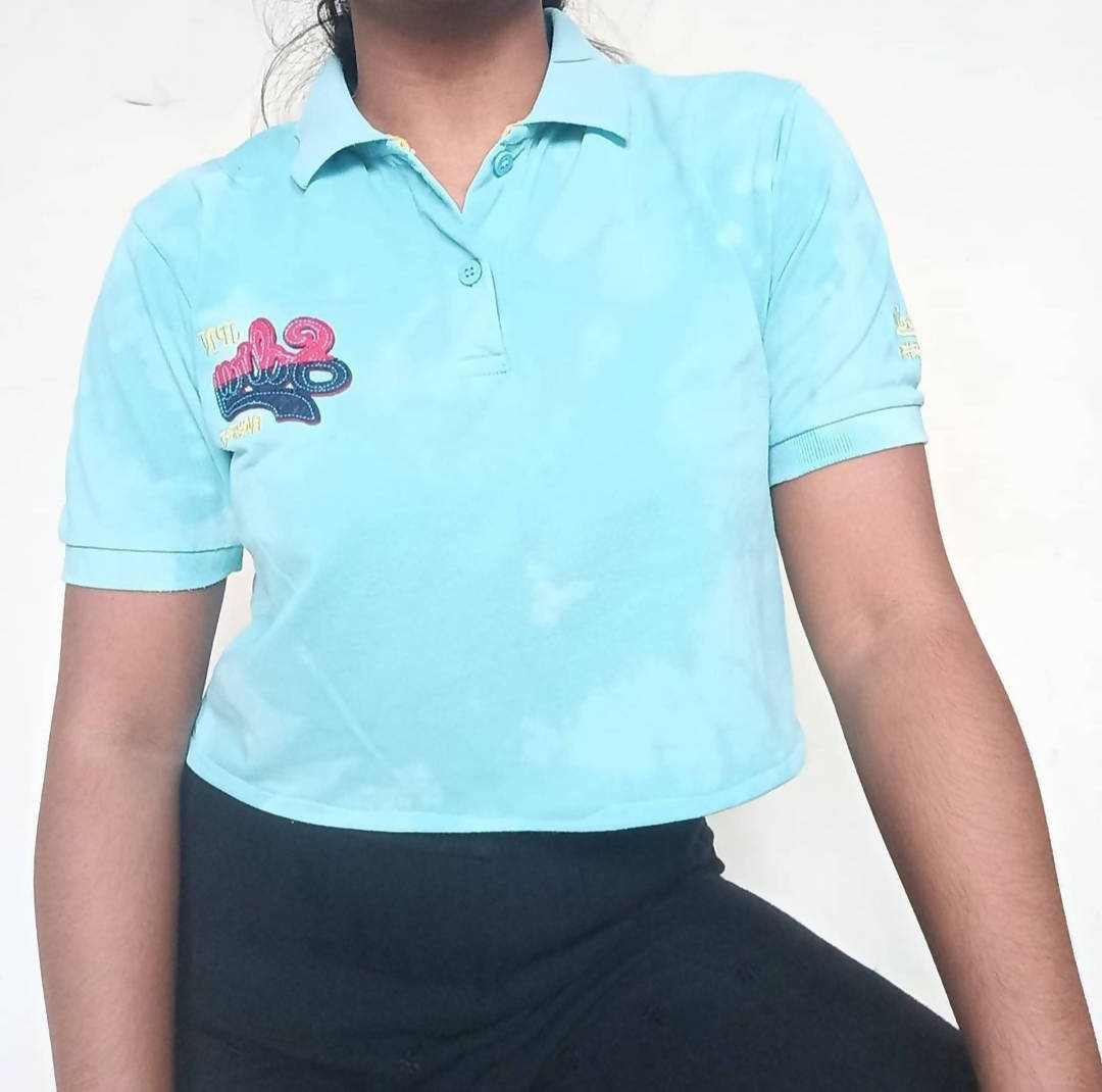 Clear Blue Cropped Polo Shirt - ReThought
