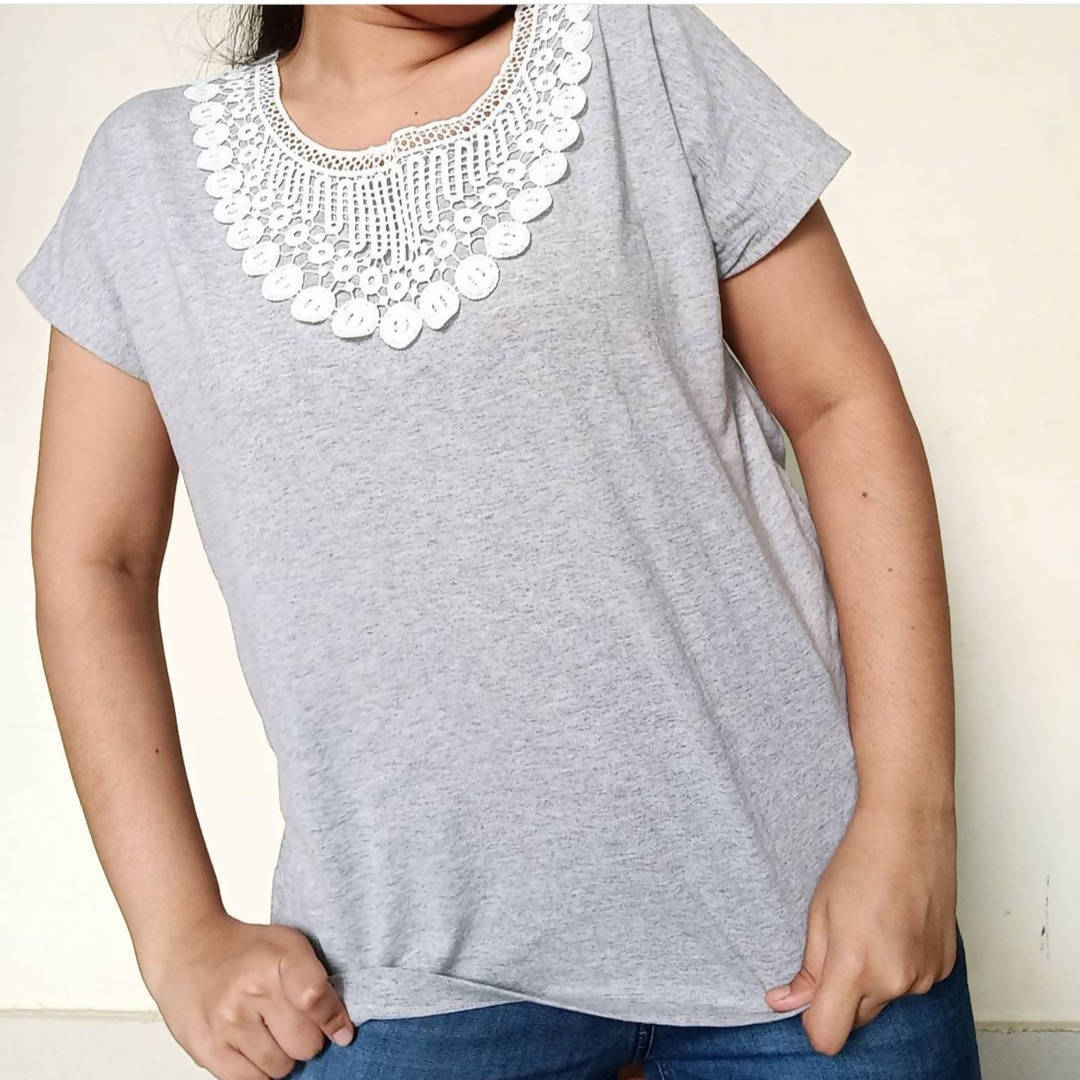 Grey Lace Patch Top - ReThought