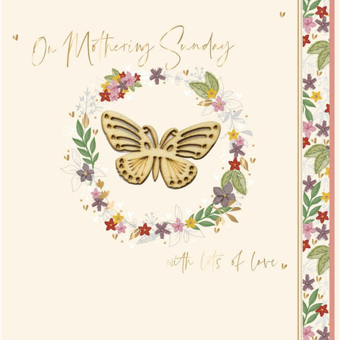 'ON MOTHERING SUNDAY' Butterfly Mother's Day Card Cards ABF The Soldiers' Charity Shop