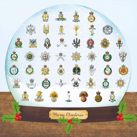 Cap Badge Snow Globe Christmas Card (Pack of 10) ABF The Soldiers' Charity Shop