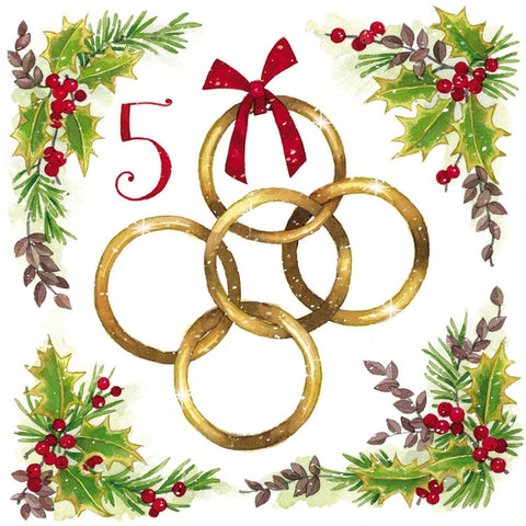 Five Gold Rings Christmas Card (Pack of 10) ABF The Soldiers' Charity Shop