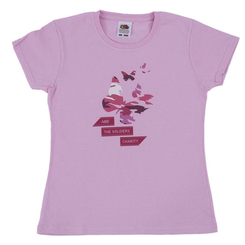 Kid's Pink Camouflage Butterfly T-Shirt ABF The Soldiers' Charity Shop