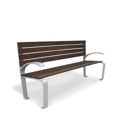 6' Urban Design Metal BENCH w/ Wood Slats