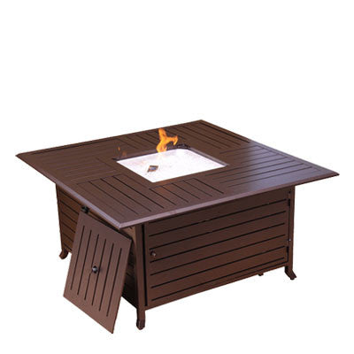 Bronze Square Slatted Aluminum Fire Pit