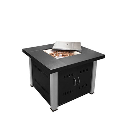 Propane Fire Pit Black and Stainless
