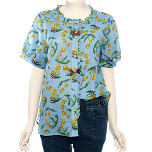 Patch Ladies Short Sleeve Woven Printed Top With Ribbon