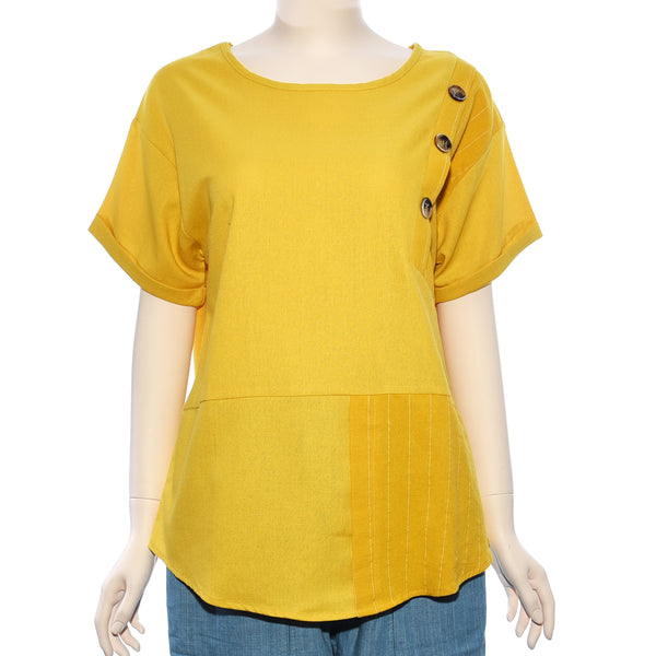 Patch Ladies Short Sleeve Yellow Stripe With Button Top