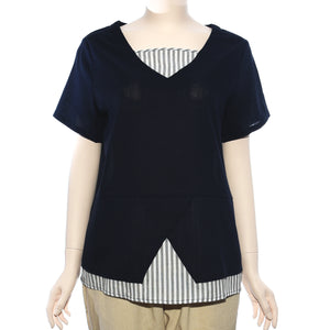 Patch Ladies Short Sleeve Navy and Grey White Stripe Top