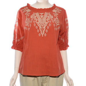 Patch Ladies Short Sleeve Embroidery Top