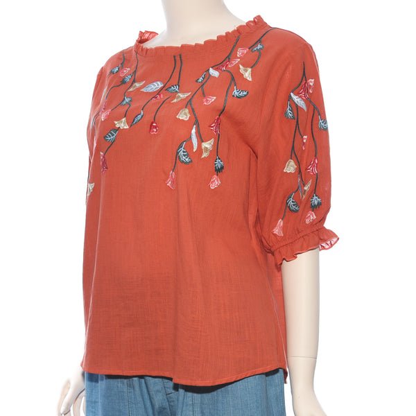 Patch Ladies Short Sleeve Leaf and Flower Embroidery Top