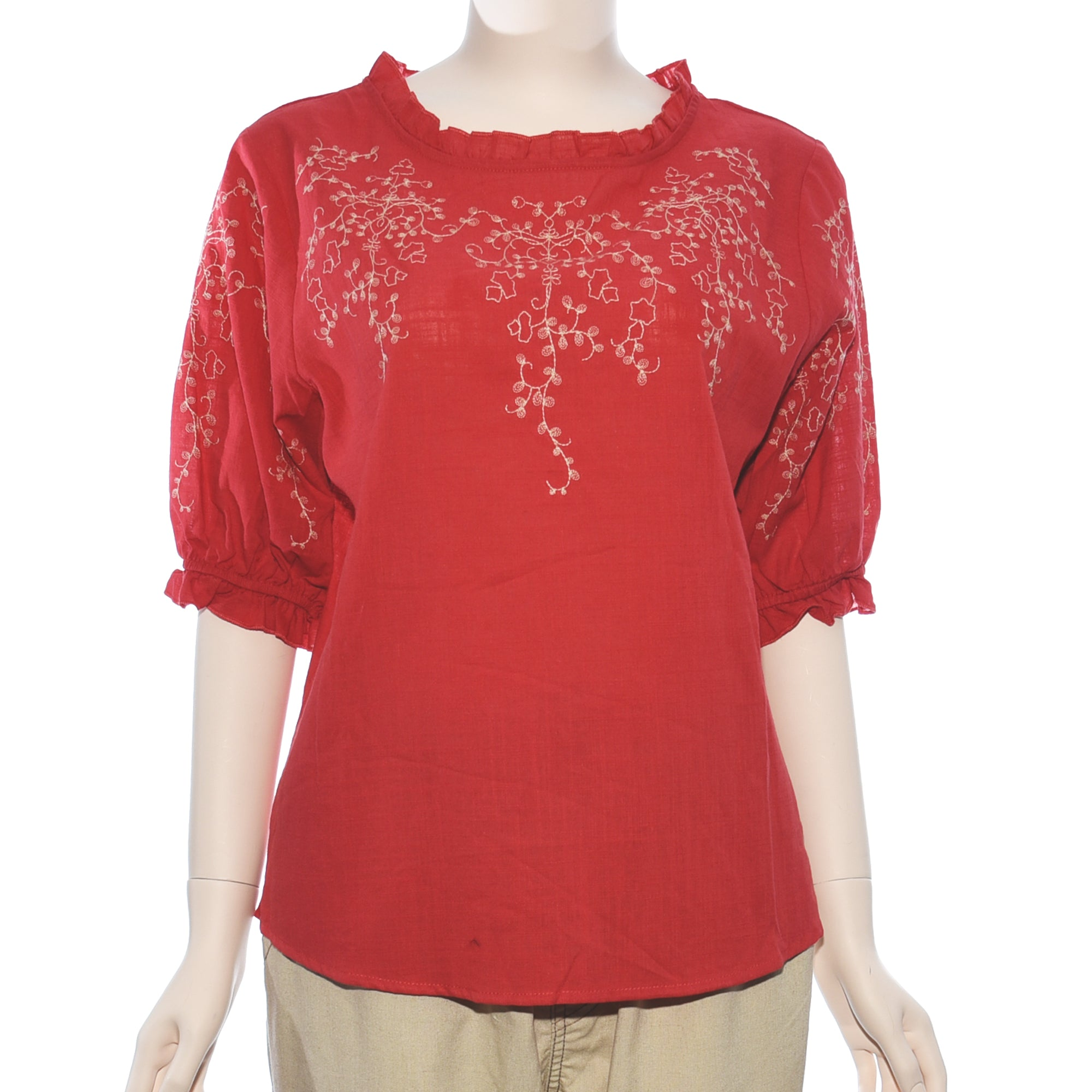 Patch Ladies Short Sleeve Red Embroidery Top