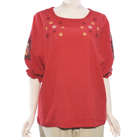 Patch Ladies Medium Sleeve Embroidery Top