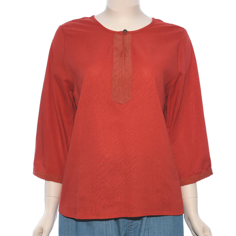 Patch Ladies Long Sleeve Red Embroidery Top