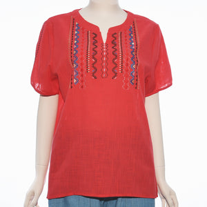 Patch Ladies Short Sleeve V neck Red Embroidery Top