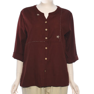 Patch Ladies Long Sleeve Brown Embroidery Top