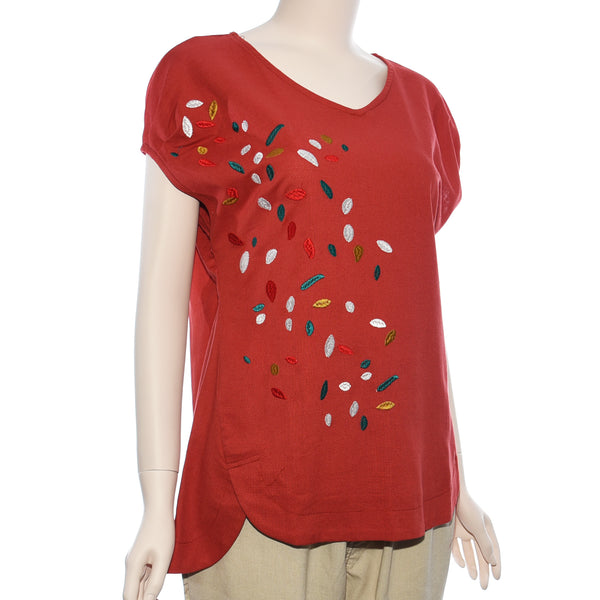 Patch Ladies Short Sleeve V Neck Embroidery Top