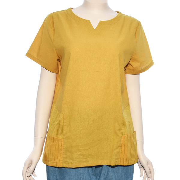 Patch Ladies Short Sleeve Yellow Stripe Woven Top