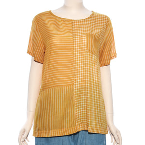 Patch Ladies Short Sleeve Yellow Stripe With Small Pocket Top