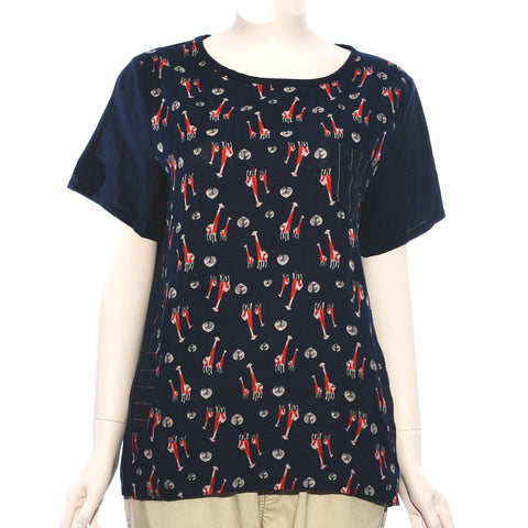 Patch Ladies Short Sleeve Giraffe Printed Top
