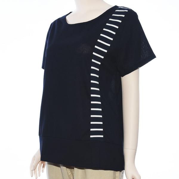 Patch Ladies Short Sleeve Plain and Stripe Top
