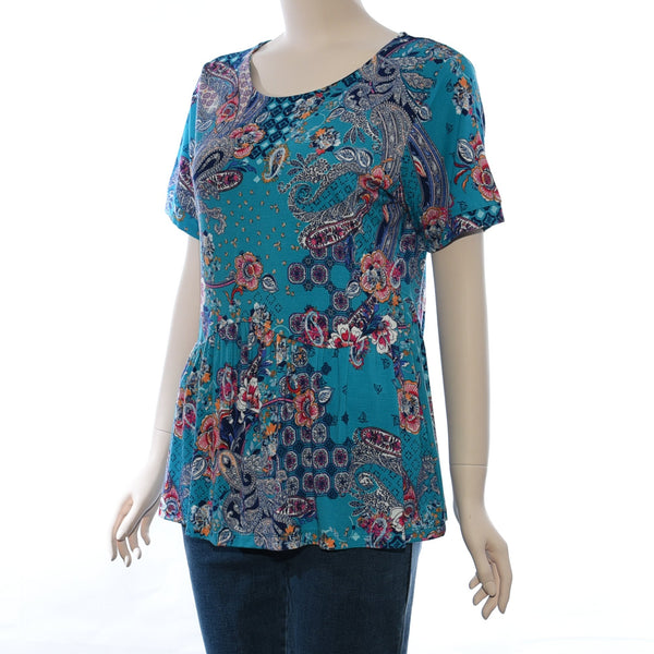 Patch Ladies Round Neck Short Sleeve Floral Printed Knit Top