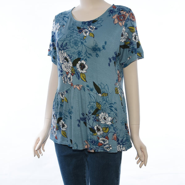 Patch Ladies Round Neck Short Sleeve Floral And Stripe Knit Top