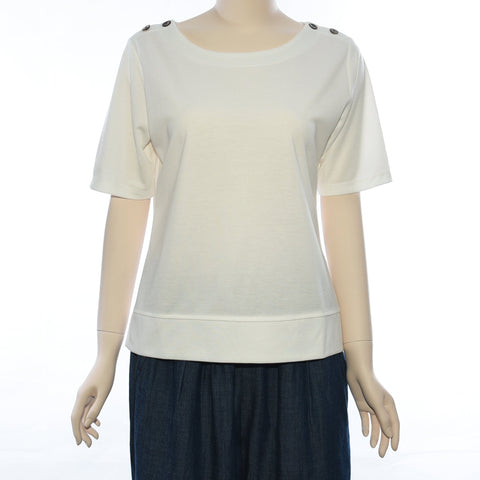 Patch Ladies Round Neck Short Sleeve Knit Top