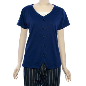 Patch Ladies V Neck Short Sleeve Knit Top
