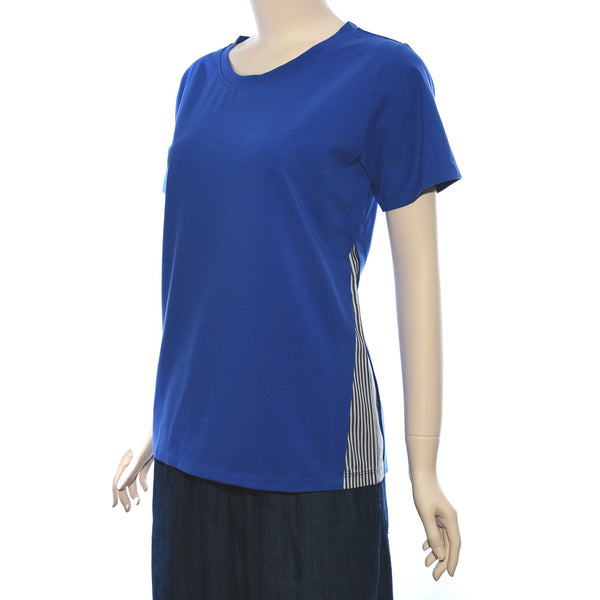 Patch Ladies Round Neck Short Sleeve Side Stripe Knit Top