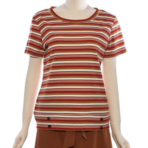 Patch Ladies Round Neck Short Sleeve Top With Stripe