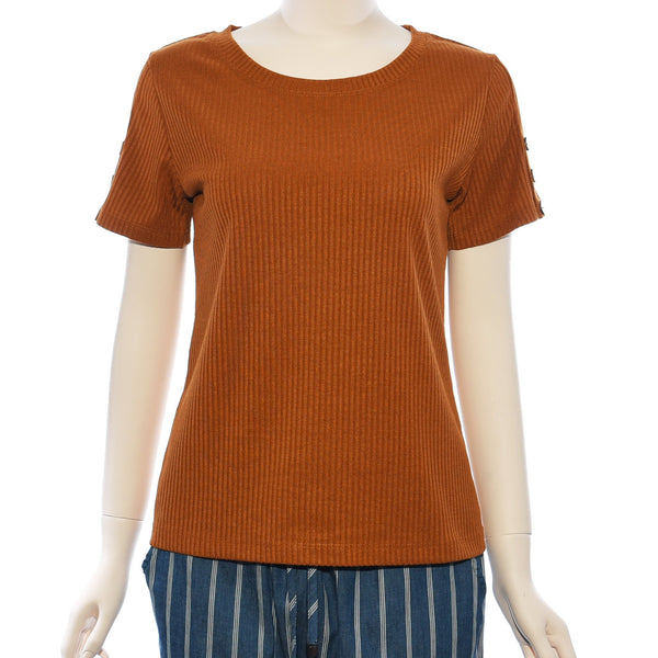 Patch Ladies Round Neck Short Sleeve Plain Knit Top