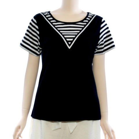 Patch Ladies Stripe and Solid Knit Top