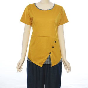 Patch Ladies Round Neck Short Sleeve Knit Top With Checks Trimming
