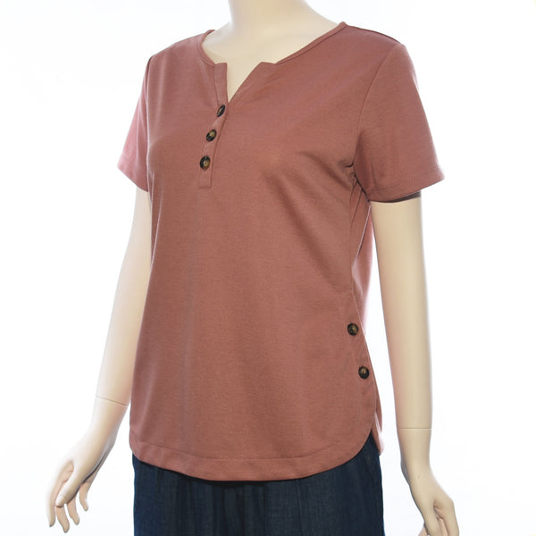 Patch Ladies V Neck Short Sleeve With Button Knit Top