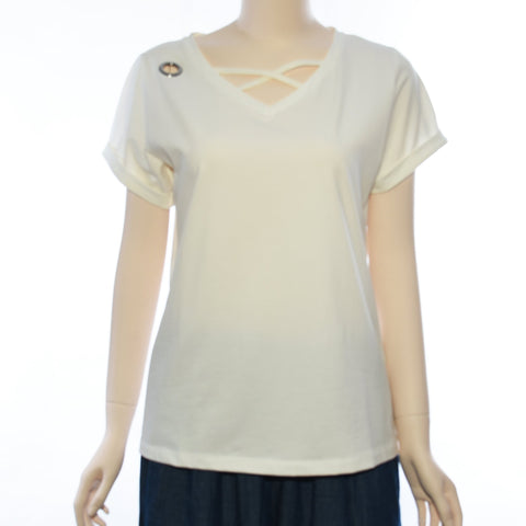 Patch Ladies V Neck Short Sleeve With Metal Button